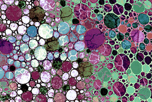Berry Bubbles - abstract burgundy and green art