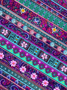 Tribal Tropic Rosa - Pink and Turquoise Aztec Floral Art