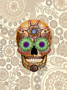 Vertical - Sugar Skull Bone Paisley - Floral Day Of The Dead Art
