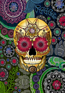 Vertical - Sugar Skull Paisley Garden - Colorful Day of The Dead
