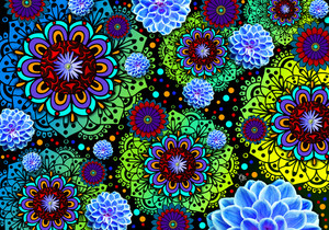 Funky Floratopia - Colorful Floral Paisley Art